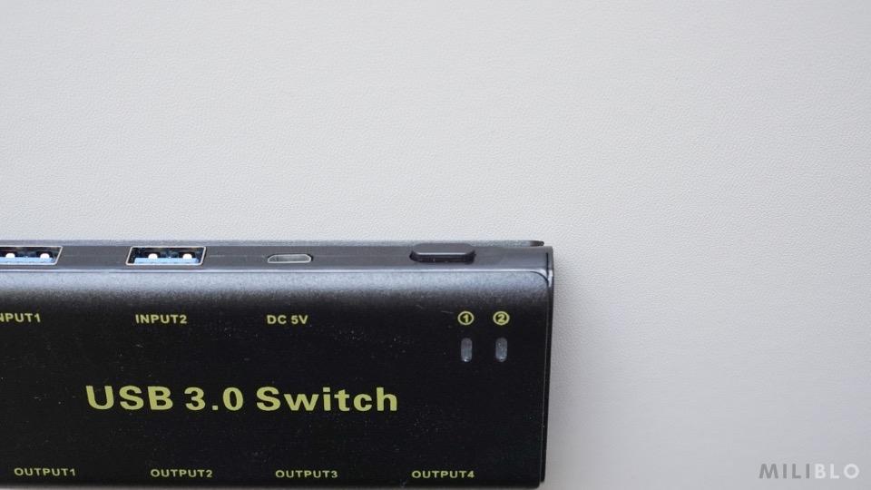USB切替器「ABLEWE USB3.0」の切り替えボタン